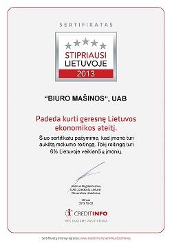 BIURO MASINOS STIPRIAUSI Sertifikatas