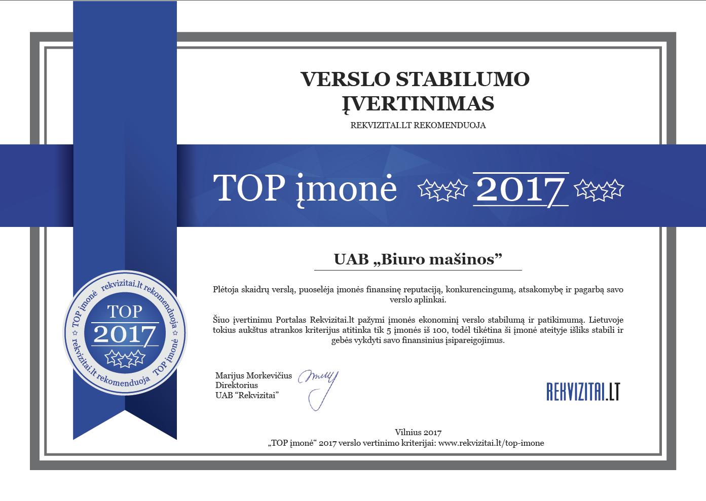 Biuro masinos TOP imone 2017
